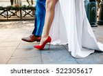 gorgeous couple walking. red... | Shutterstock . vector #522305617