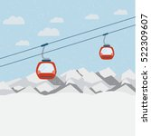 Red Ski Lift Gondolas Moving I...