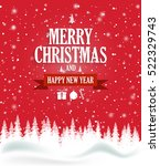 christmas greeting card on red... | Shutterstock .eps vector #522329743