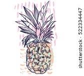 pineapple tropical fruit.... | Shutterstock .eps vector #522334447