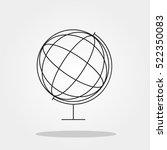 globe cute icon in trendy flat...