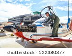Small photo of Bangkok Thailand 10 September 2016 : The air cadet pilot was checking the aircraft before start engine and fly in Don muang Base with the blue sky and few cloud.