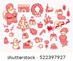 set of christmas doodle on... | Shutterstock .eps vector #522397927