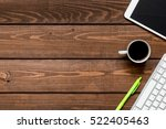 mans working place at wooden...   Shutterstock . vector #522405463