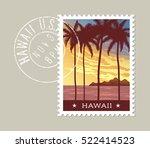 hawaii postage stamp design.... | Shutterstock .eps vector #522414523