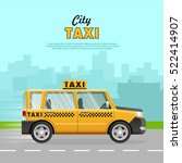 yellow taxi with a checker on... | Shutterstock .eps vector #522414907
