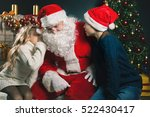 santa and children around the... | Shutterstock . vector #522430417