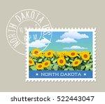 north dakota postage stamp... | Shutterstock .eps vector #522443047
