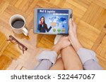 woman at home with the tablet... | Shutterstock . vector #522447067