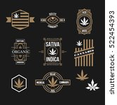 set of weed medical marijuana... | Shutterstock .eps vector #522454393