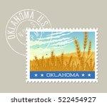 oklahoma postage stamp design.... | Shutterstock .eps vector #522454927