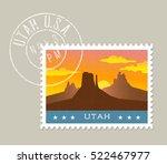 utah postage stamp design. ... | Shutterstock .eps vector #522467977