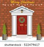 decorated christmas door with... | Shutterstock .eps vector #522479617