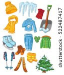 winter clothing and winter... | Shutterstock .eps vector #522487417