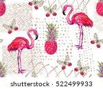 summer jungle pattern with... | Shutterstock .eps vector #522499933