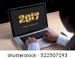 2017 new year appear on laptop... | Shutterstock . vector #522507193