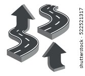 zigzag roads and arrows. set on ... | Shutterstock .eps vector #522521317