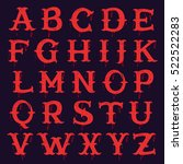 vintage slab serif alphabet... | Shutterstock .eps vector #522522283