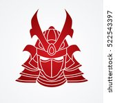 samurai mask graphic vector. | Shutterstock .eps vector #522543397