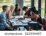 young people sitting at table... | Shutterstock . vector #522554407