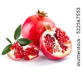 juicy pomegranate and its half... | Shutterstock . vector #522567553