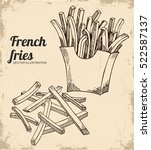 french fries illustration ... | Shutterstock .eps vector #522587137