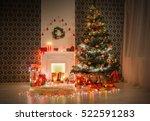 christmas living room... | Shutterstock . vector #522591283