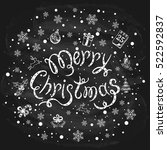 merry christmas with snowflakes ... | Shutterstock .eps vector #522592837