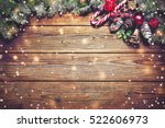 christmas background with fir... | Shutterstock . vector #522606973
