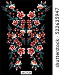embroidery ethnic flowers neck... | Shutterstock .eps vector #522635947