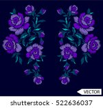 embroidery ethnic flowers neck... | Shutterstock .eps vector #522636037