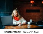 young freelancer woman using... | Shutterstock . vector #522644563