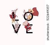 flowers typography poster... | Shutterstock .eps vector #522649357
