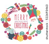 merry christmas wreath vector   Shutterstock .eps vector #522693463