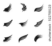 wings of bird icons set. simple ... | Shutterstock .eps vector #522700123