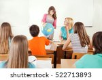 geography class in school. girl ... | Shutterstock . vector #522713893