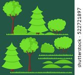Set Of Flat Trees And Grass...