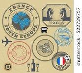 travel stamps or symbols set ... | Shutterstock .eps vector #522729757