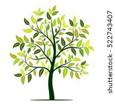 green tree with leaves vector | Shutterstock .eps vector #522743407