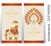 india invitation card  gold... | Shutterstock .eps vector #522743503