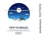 banner travel to brazil  rio de ... | Shutterstock .eps vector #522774253