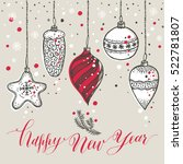 new year's toys hand drawn... | Shutterstock . vector #522781807