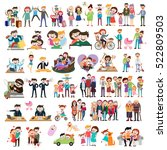 set of happy family  people ... | Shutterstock .eps vector #522809503