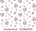 "Cute Floral pattern in the small flower. ""Ditsy print"". Motifs scattered random. Seamless vector texture. Elegant template for fashion prints. Printing with very small pink flowers. White background. 