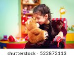 cute little girl in wheelchair... | Shutterstock . vector #522872113