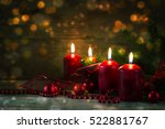 Four Red Burning Candles At Th...