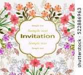 invitation or wedding card with ... | Shutterstock .eps vector #522886963