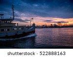 Small Tugboat Is Sailing At...