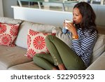 attractive young woman drinking ... | Shutterstock . vector #522905923