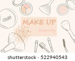 cosmetics set and makeup artist ... | Shutterstock .eps vector #522940543